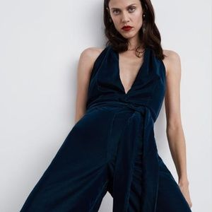 Zara emerald green velvet  holiday halter jumpsuit